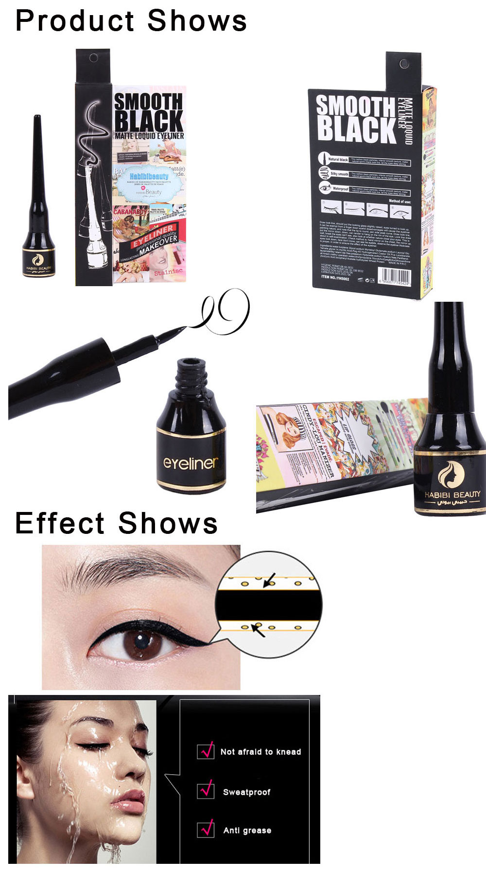 HABIBI BEAUTY New Makeup Waterproof Eye-liner with Stretch Tip