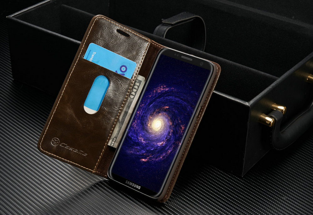 CaseMe 003 for Samsung Galaxy S8 Magnetic Wallet Leather Flip Phone Case with Kickstand Card Slot and Money Slot Cover
