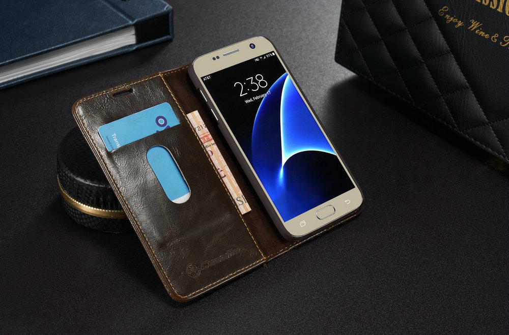 CaseMe 003 for Samsung Galaxy S7 Leather Phone Flip Wallet Case Cover with Card Slots Kickstand