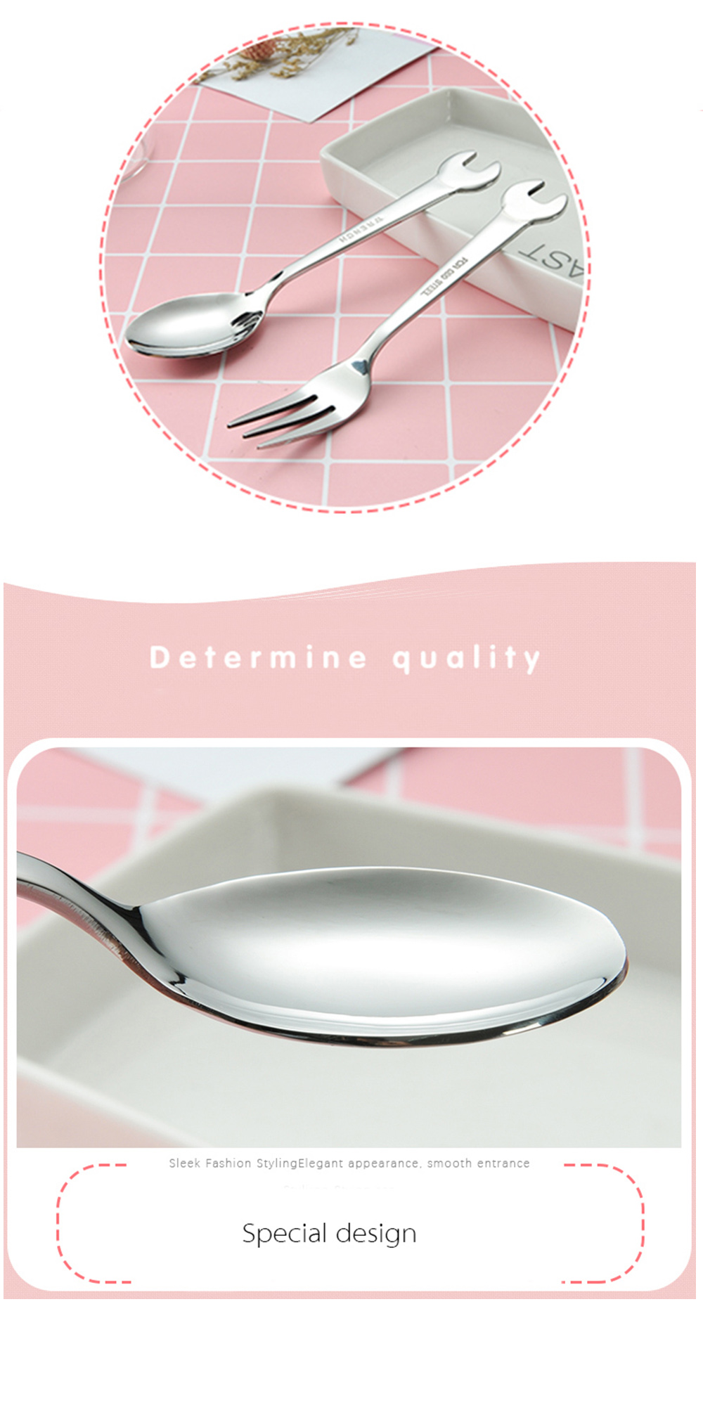 Creative Wrench Shape Handle Coffee Drink Dessert Wrench Shape Spoons Fork Tableware for Home Flatware Gift,Fork spoon