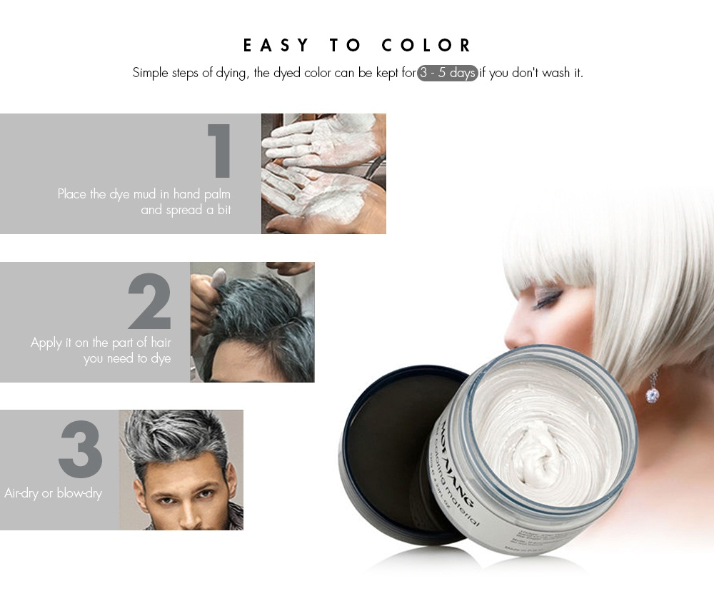 One Time Colored Hair Dye Mud with Natural Plant Extracts | Gearbest