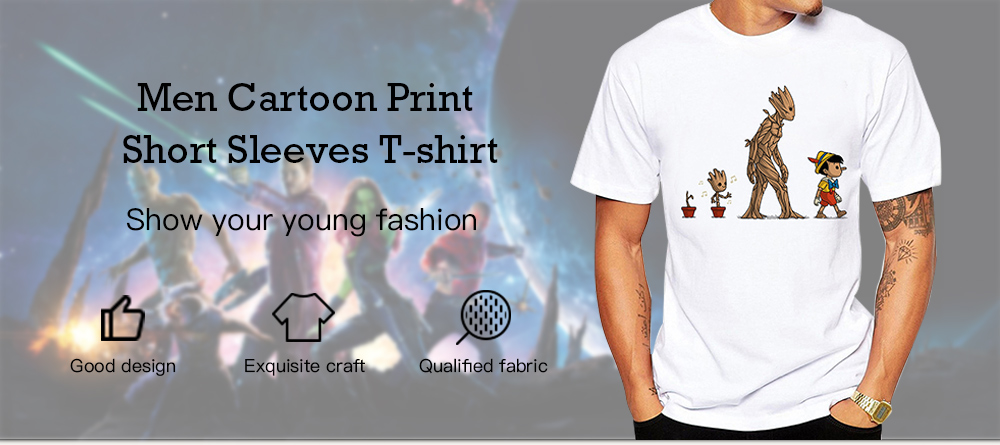 Men Cartoon Print Short Sleeves Round Neck T-shirt