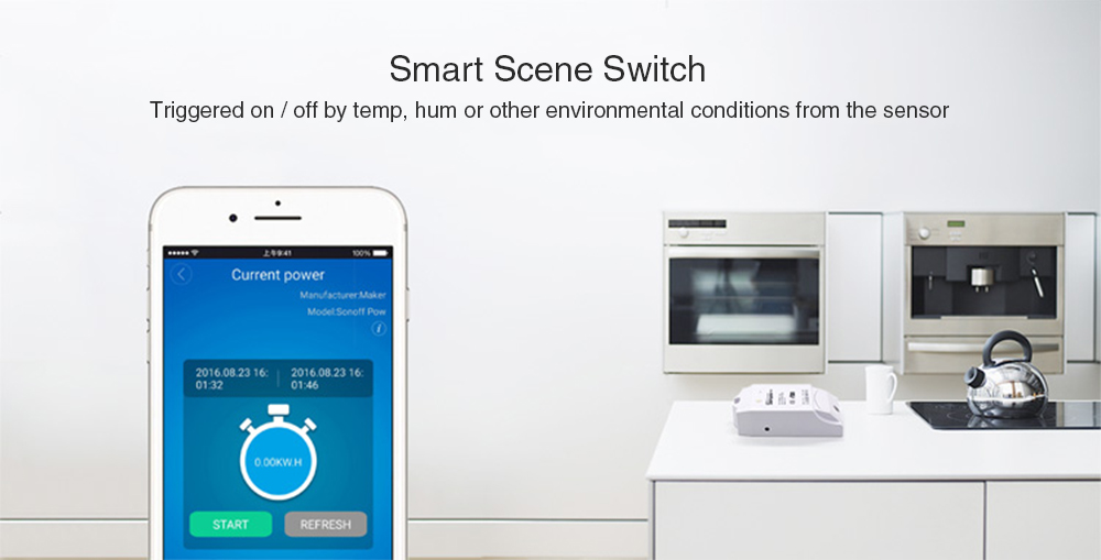 SONOFF POW WiFi Wireless Smart Switch with Power Consumption Measurement Control Lights- White