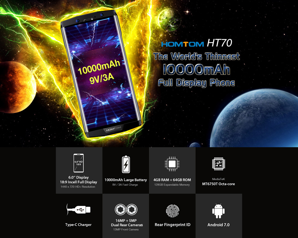 HOMTOM HT70 4G Phablet 6.0 inch Android 7.0 MTK6750T Octa Core 1.5GHz 4GB RAM 64GB ROM Dual Rear Cameras Fingerprint Recognition 10000mAh Battery