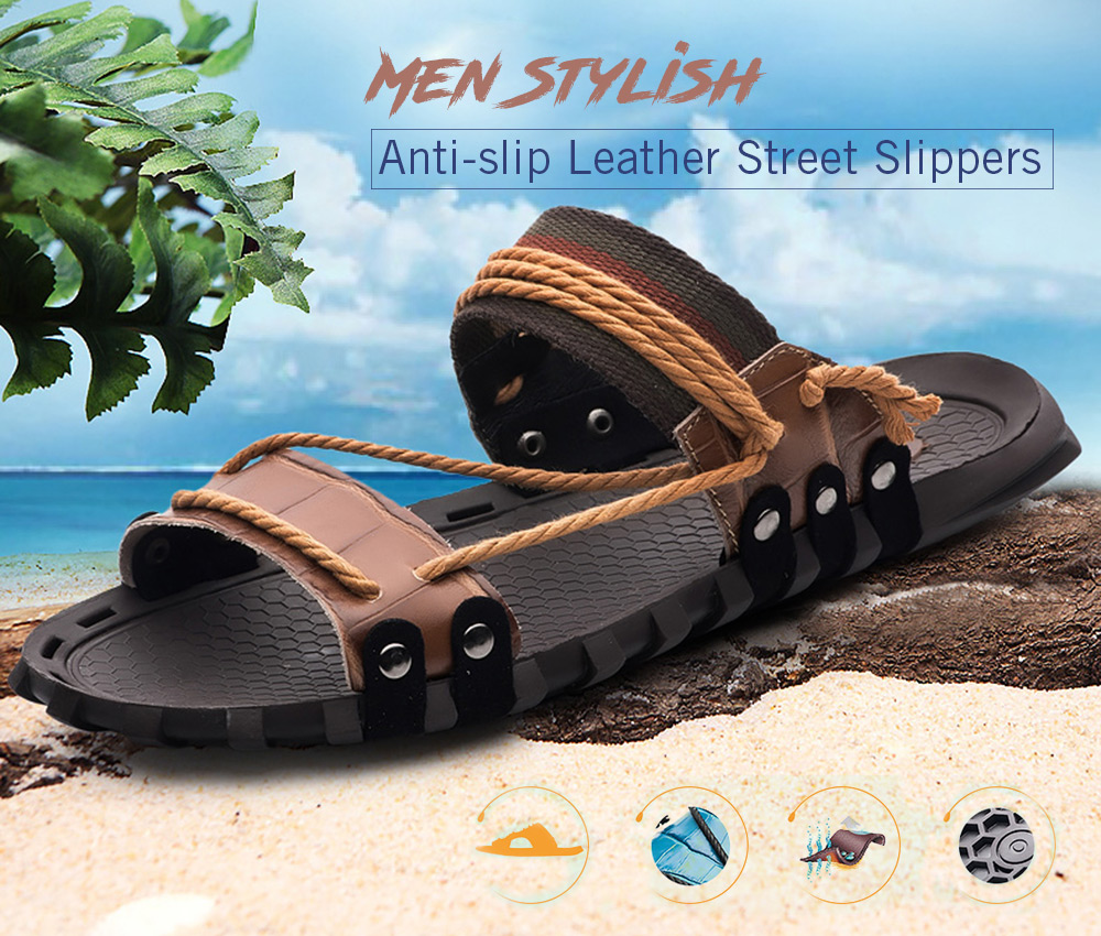 Stylish Anti-slip Leather Street Slippers for Men