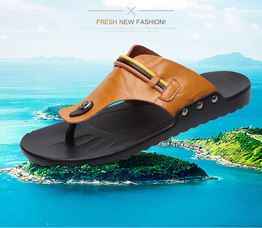 Leather Fashion Casual Men's Slippers