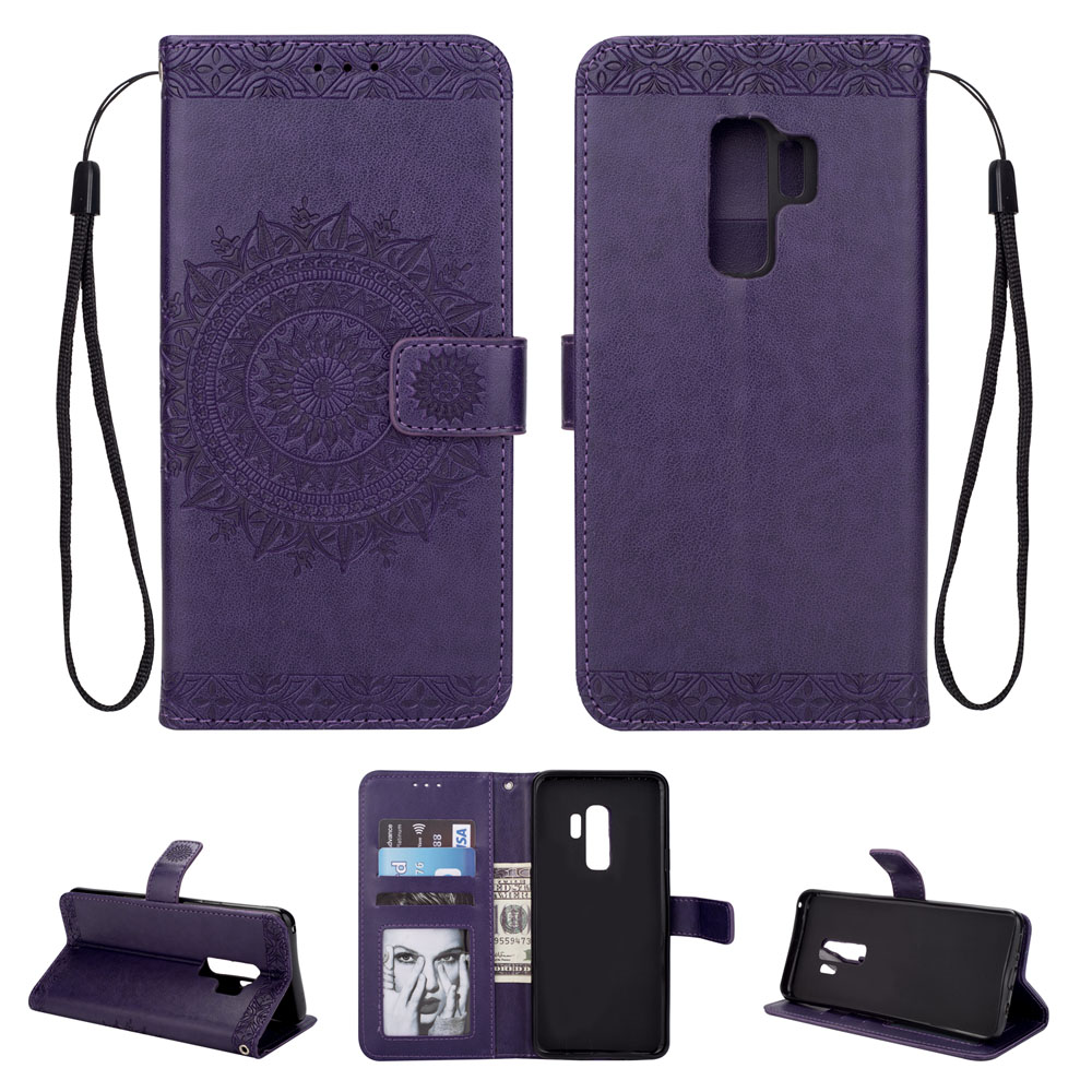 Embossed Wallet Flip PU Leather Card Holder Stand Case for Samsung Galaxy S9 Plus