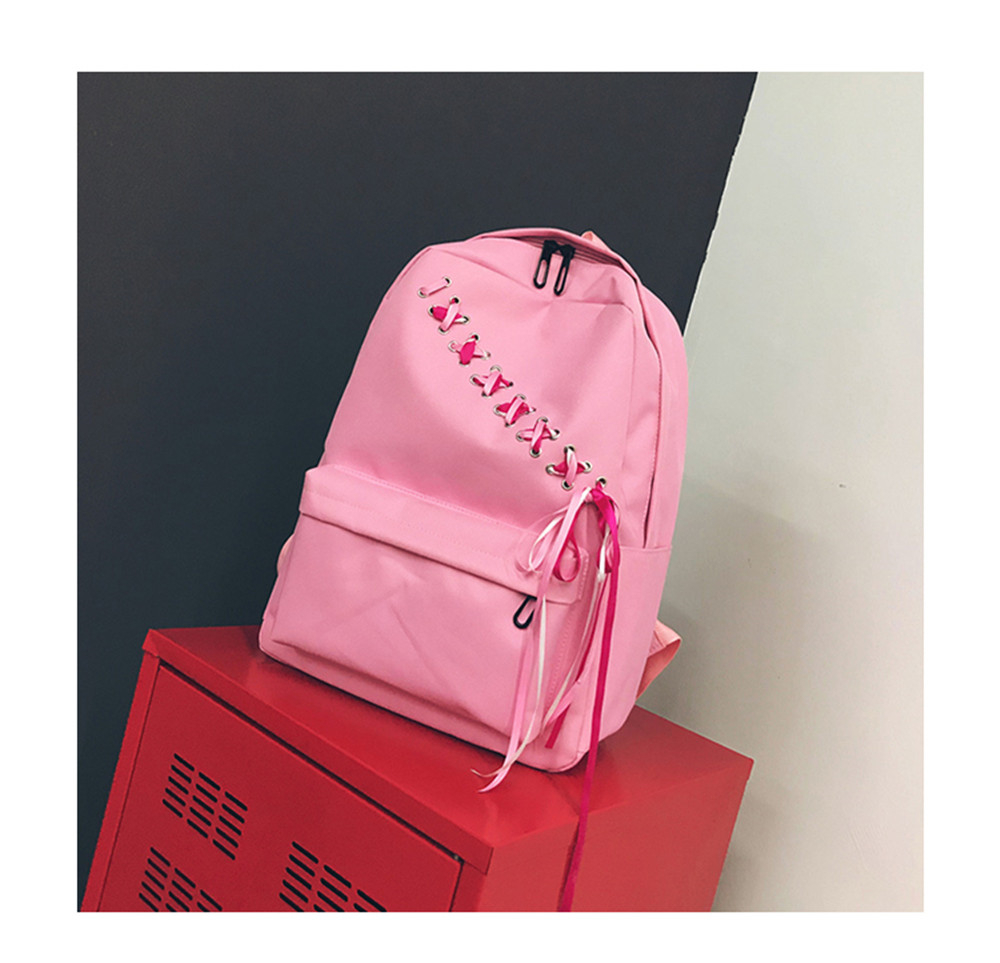 Canvas Large Capacity Fashion Small Fresh And Simple Ladies Travel Female Shoulder Bag Backpack Tide Pink