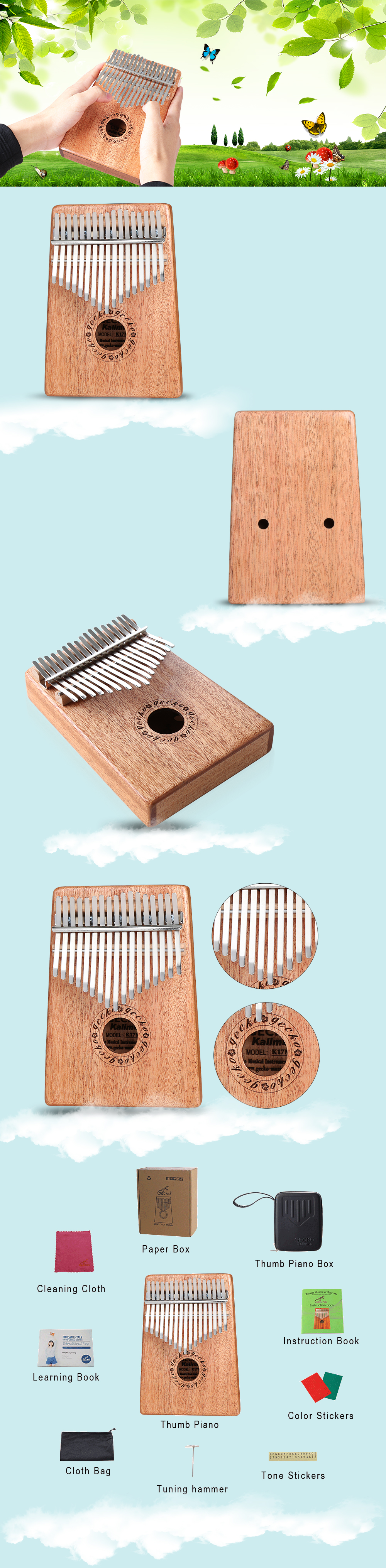 GECKO Mbira Sanza 17 Keys Thumb Piano with Kalimba BOX and Musical Notation
