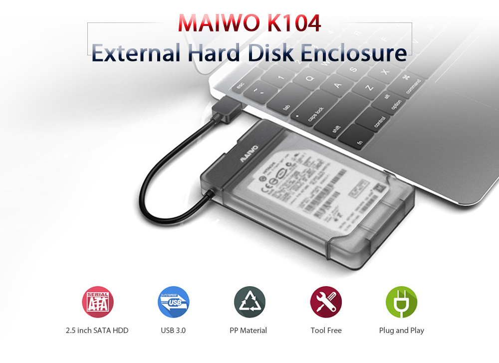MAIWO K104 USB 3.0 Hard Drive Enclosure Support 2.5 inch SSD Free Tools