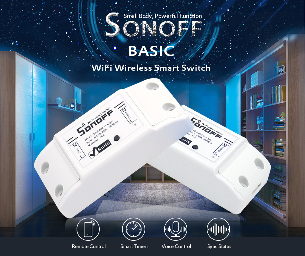 SONOFF BASIC WiFi Wireless Smart Switch for DIY Home Safety- White