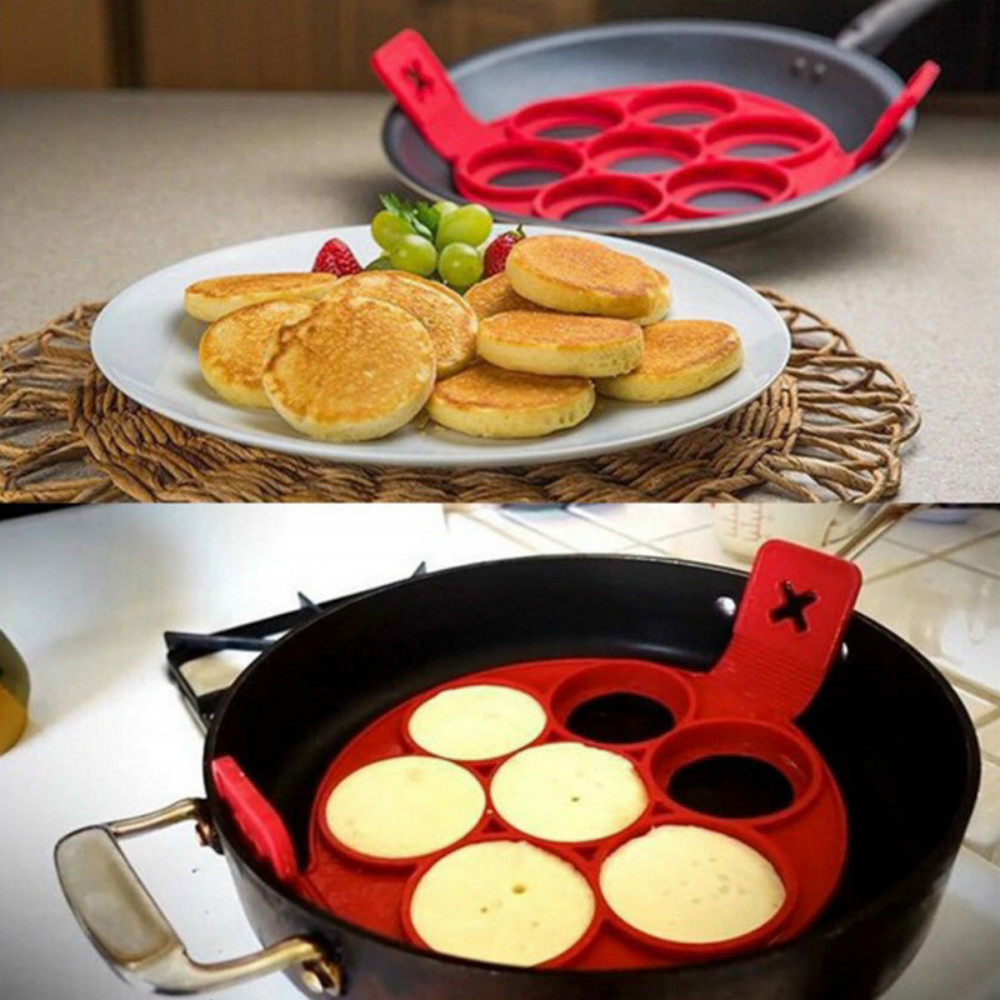 7-HOLE Silicone Frying Pan Pancake Egg Molds Belt Baking Tools- Love Red