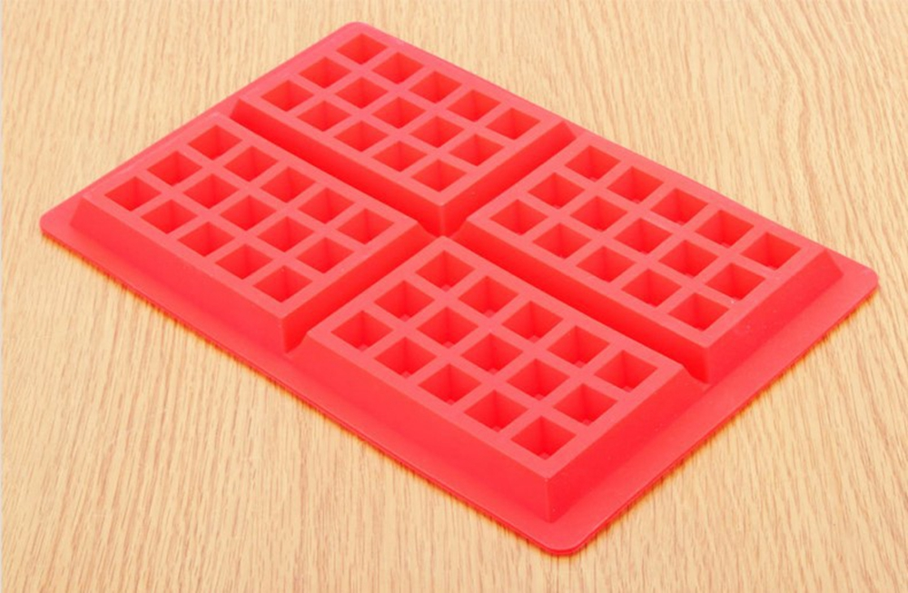 4 Square Waffle Silicone Mold Cookies Cake Chocolate Craft Candy Soap Baking Tool