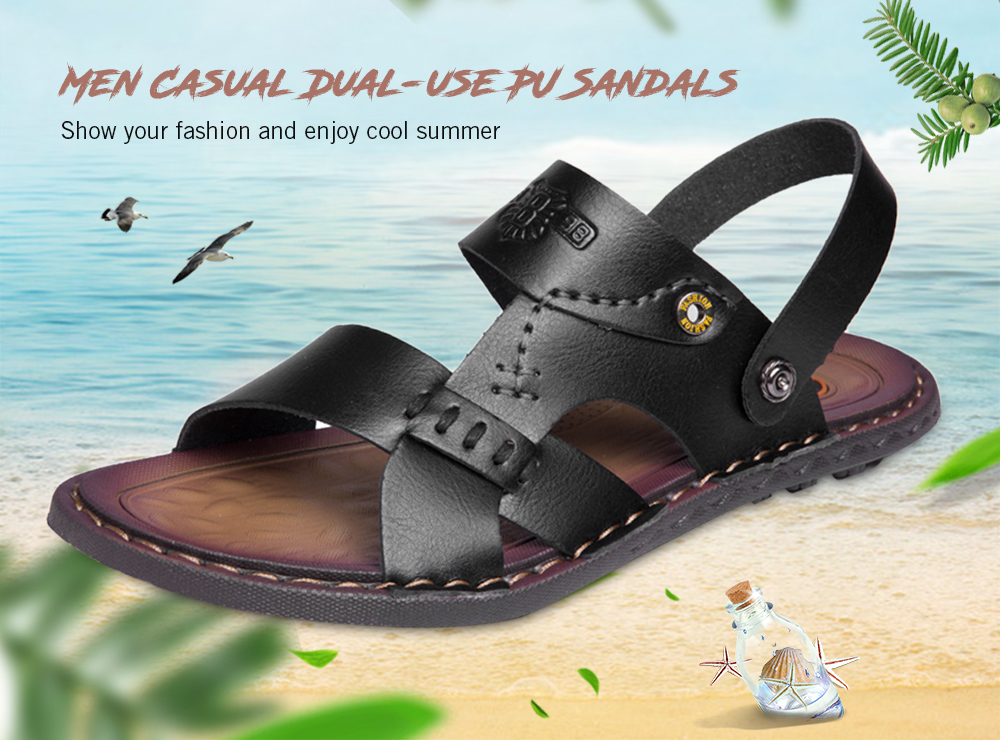 50fb785b11f5 Casual Summer Dual-use PU Leather Sandals Slippers for Men- Black 40