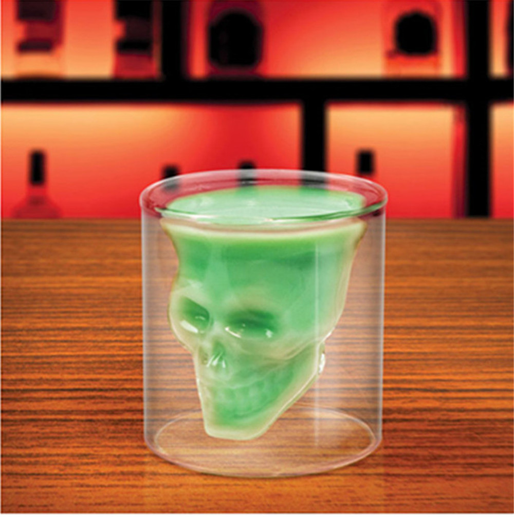 Sizes Halloween Skull Cup Wine Head Creative Party Drink Ware Transparent- Milk White