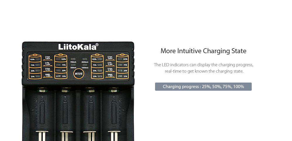 LiitoKala Lii - 402 Battery Charger for Li-ion / 18650 / 18490 / 18350 / 17670 / 17500 / 16340 ( RCR123 ) / 14500 / 10440- Black USB