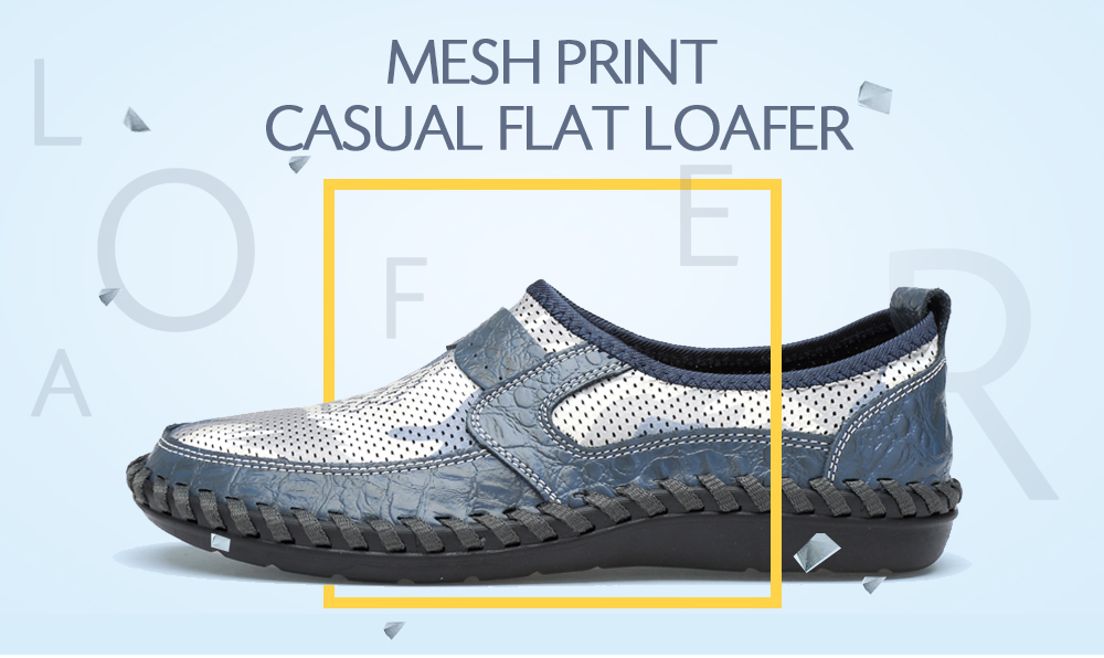 Lightweight Mesh Print Casual Flat Shoes for Men