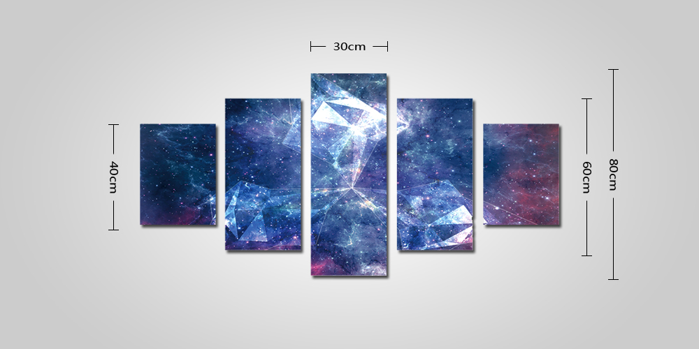 God Painting 2216 Dreamlike Star Sky Canvas Print Wall Art Home Decoration 5PCS