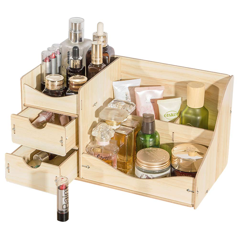HECARE Jewelry Container Home Storage Wooden Box Handmade DIY Assembly Case Organizadores Wood Desk Makeup Organizer NEW