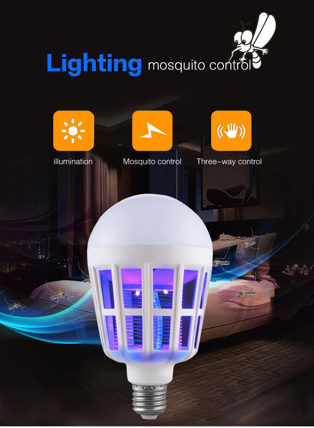 BRELONG LED Mosquito Home Lighting Bulb 15W 220V