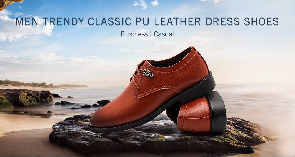 Trendy Soft Classic PU Leather Dress Shoes for Men