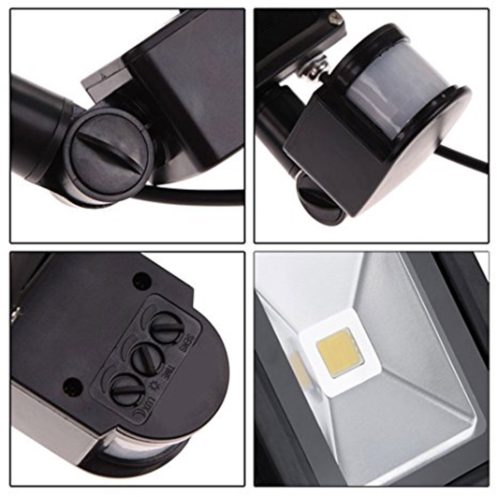 10w Waterproof Pir Motion Sensor Led Floodlight Outdoor Security Flood Light Lamp High Power Black Case With 1m Cable Wire Yk0959