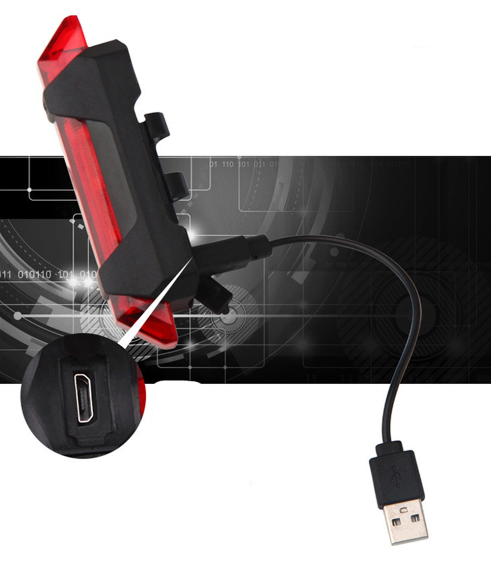 Portable USB Rechargeable Bicycle Tail Rear Safety Warning Light Taillight