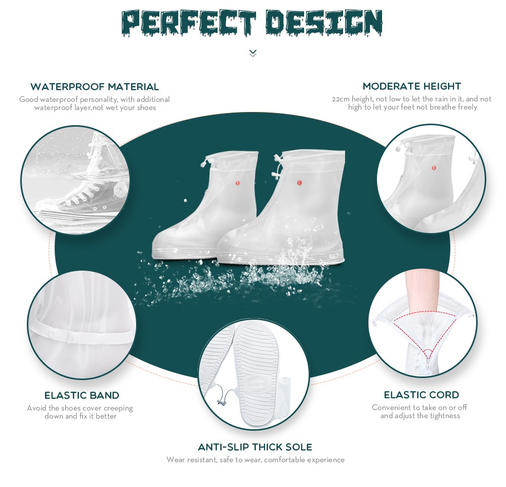 Stereo-lithography Waterproof Shoe Covers Rain Boots - 1 Pair- White XL