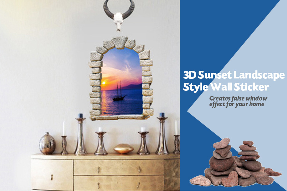 Sunset Landscape Style Wall Sticker 3D Mural Decal for Home Hotel Decoration
