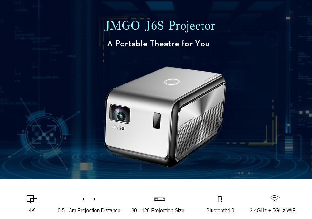 JMGO J6S Full HD Android Projector 1100 ANSI Lumens Home Theater