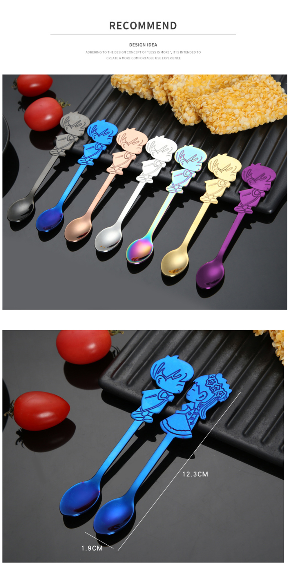 Newly 2PCS Coffee Spoons Gift Set 304SS Lover Mini Small Spoon for Romantic Wedding Cutlery Boys and Girls Drawing Table- Rose Gold