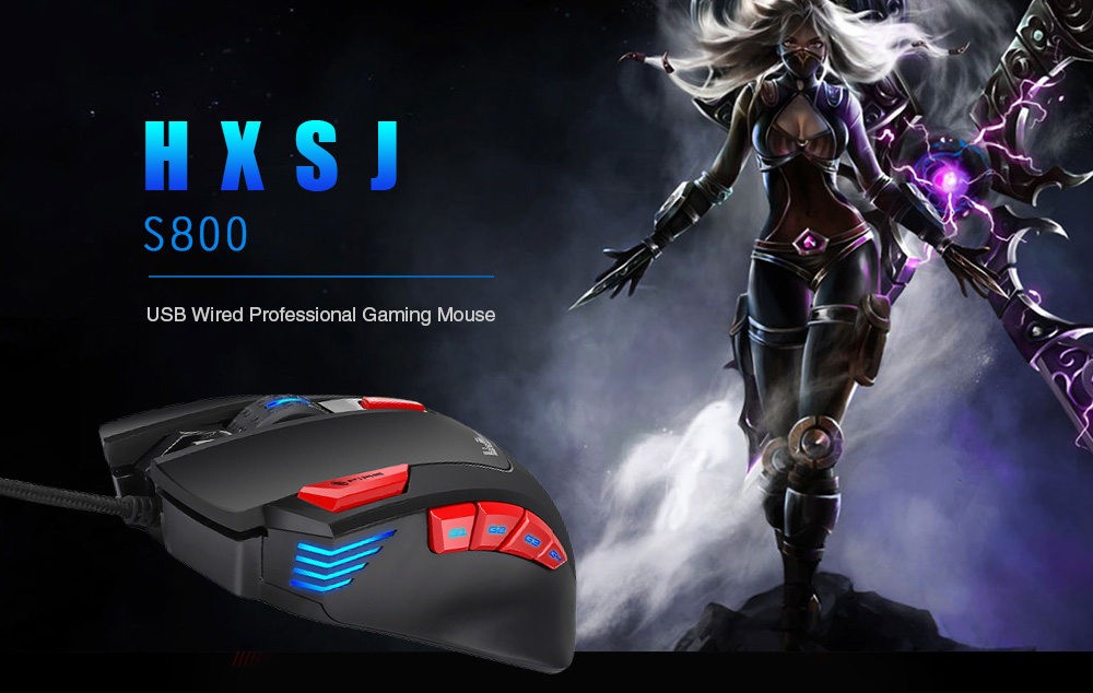 HXSJ S800 USB Wired Professional Gaming Mouse with 6000 DPI