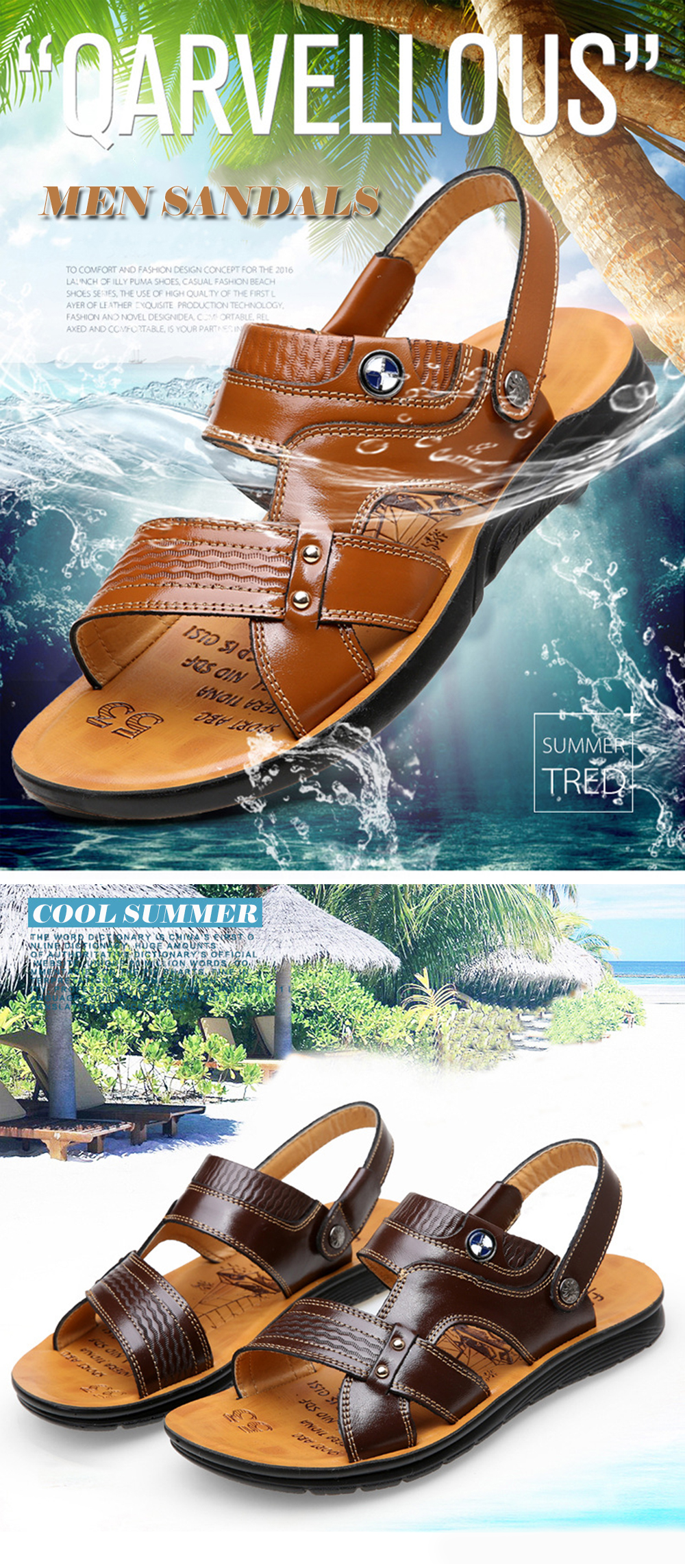 Summer Cool Sandals Cowhide Leather Durable Beach Shoes for Men