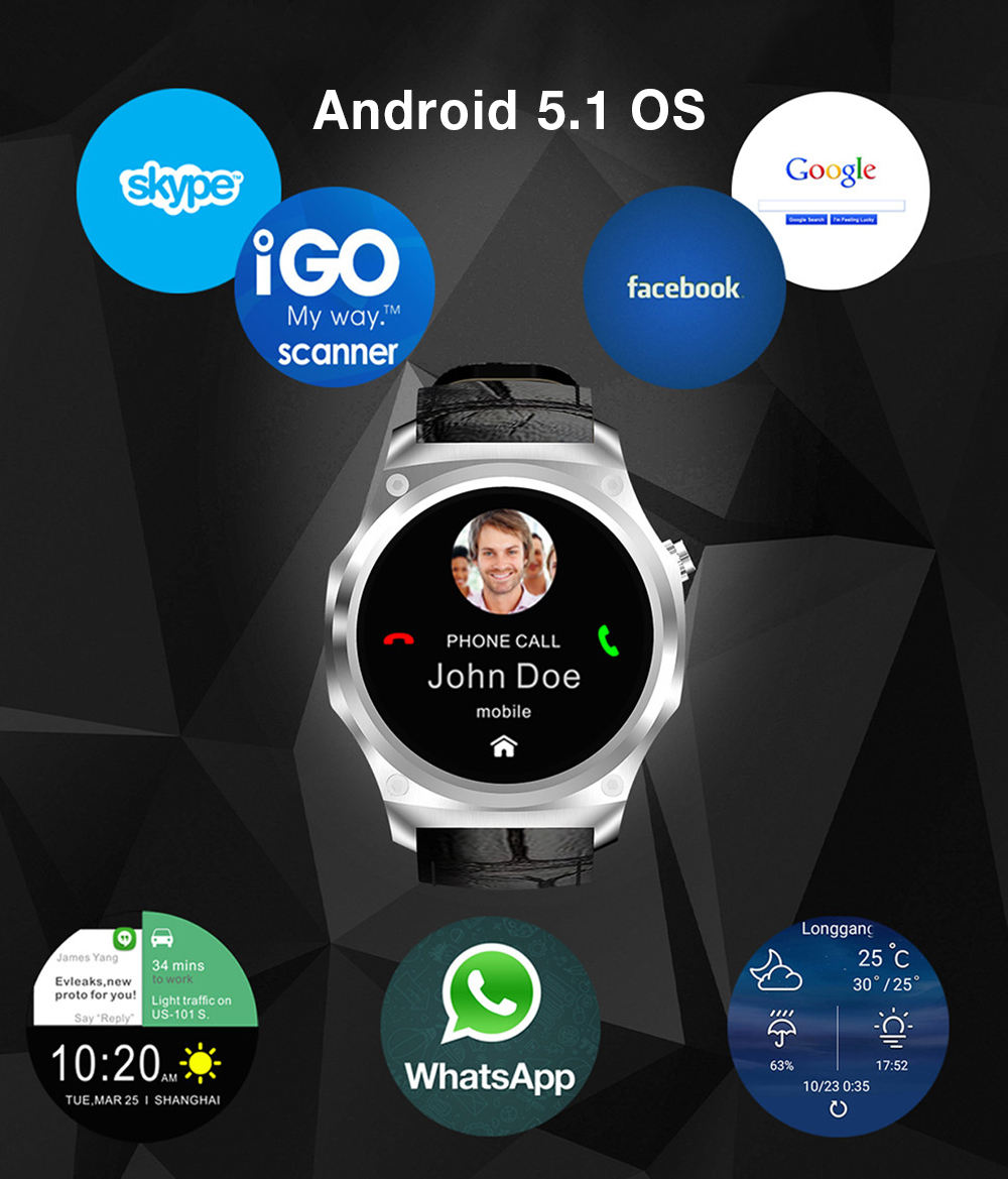 TenFifteen F2 3G Smartwatch Phone IP65 Waterproof 1.39 inch Android 5.1 MTK6580 1.0GHz 16GB ROM GPS Heart Rate Monitor Touch Screen