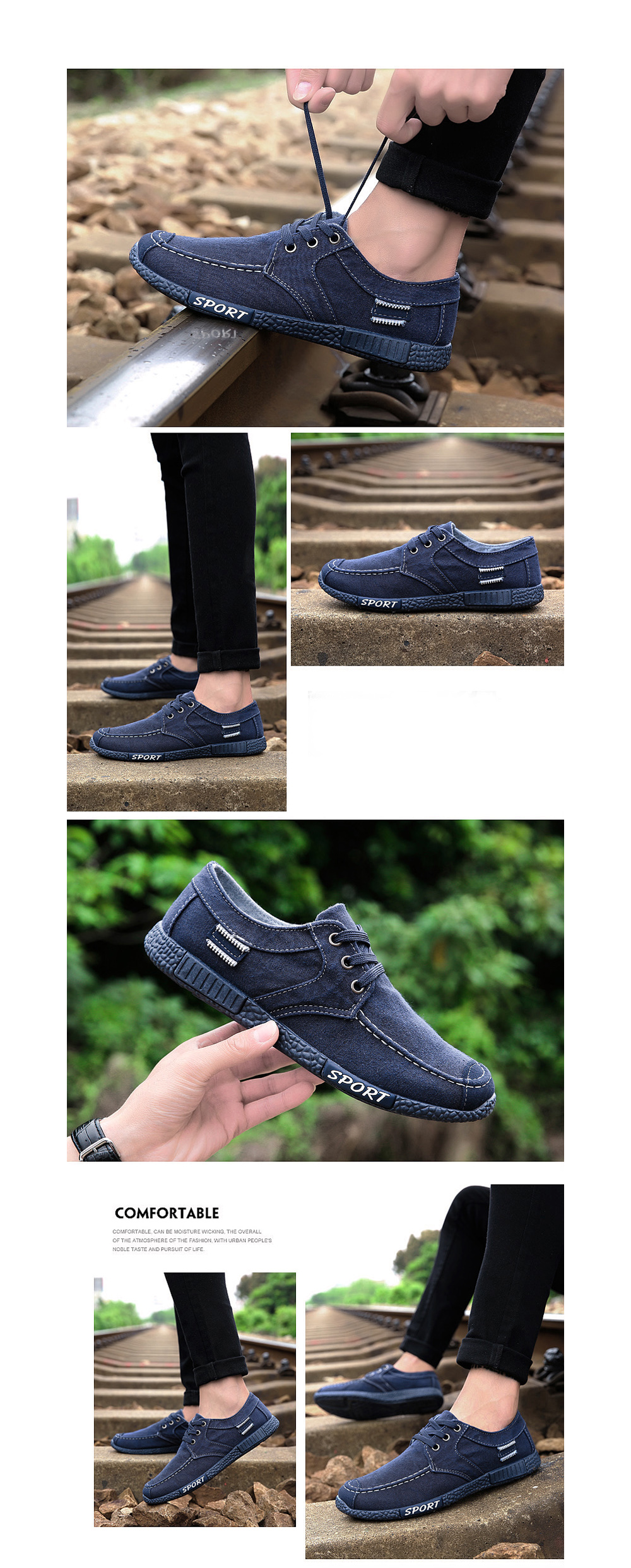 Men Canvas Fashion Summer Lace-Up Leisure Hiking Casual Sport Sneakers