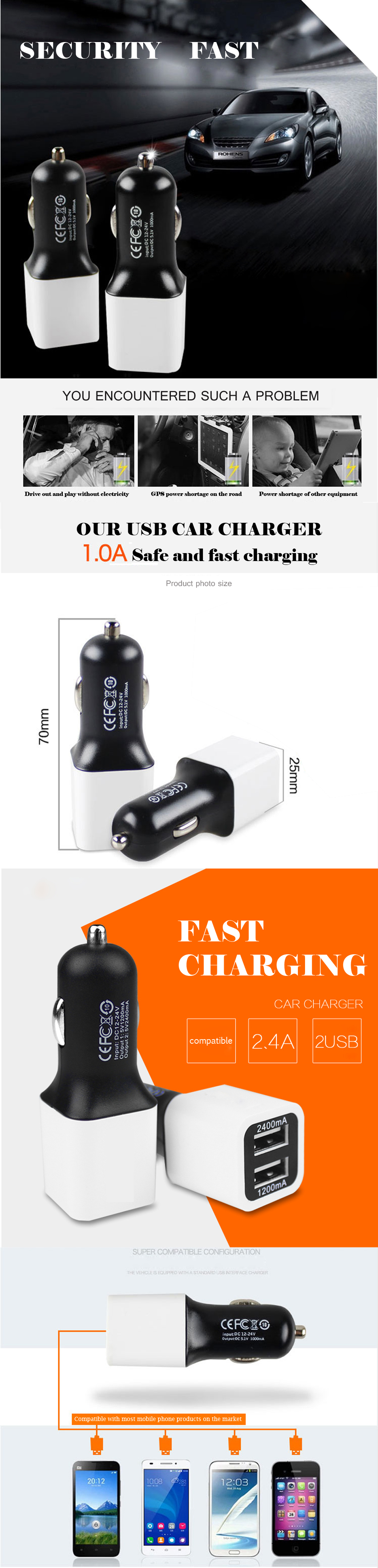 Quick Charge Dual USB Car Charger Power Drive+ 2
