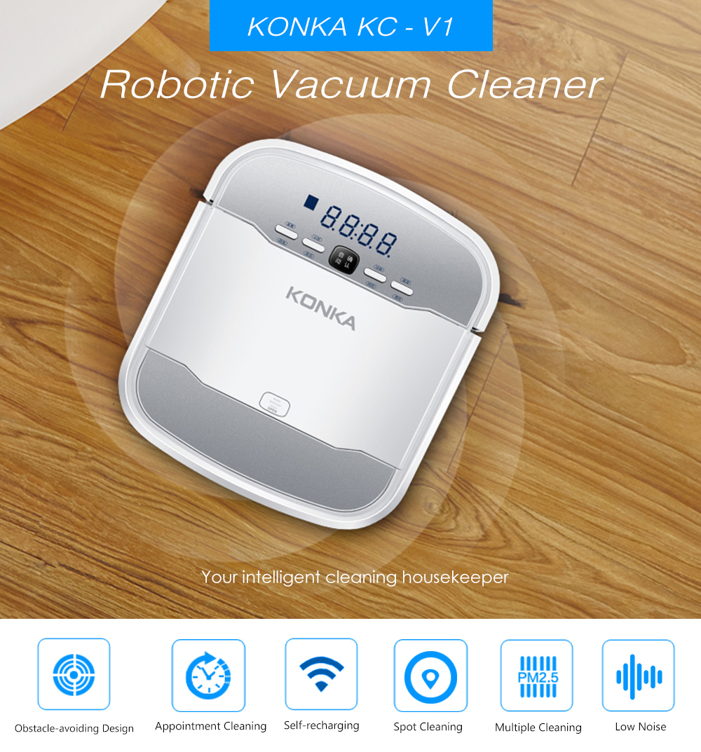 KONKA KC - V1 Smart Robotic Vacuum Cleaner Automatic Remote Control  Cleaning Robot- White US