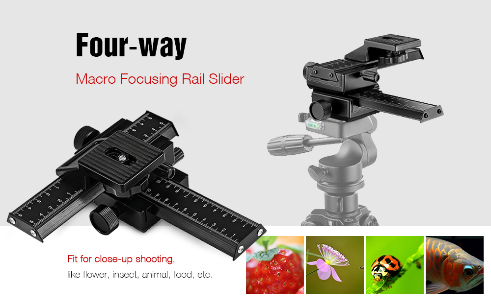 Four-way Macro Focusing Rail Slider for Digital SLR Cameras with Standard 1/4 inch Screw Hole
