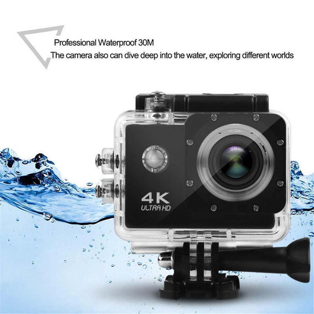 4K 2.0 LCD WiFi Ultra HD Waterproof  Action Sport Camera- Black