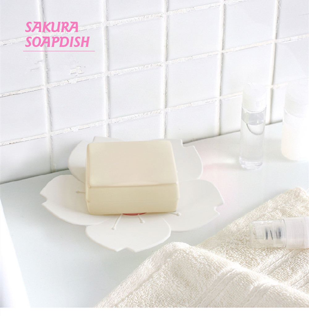 Sakura Soap Dish / Box Non - Slip Bottom Two Layer Drain