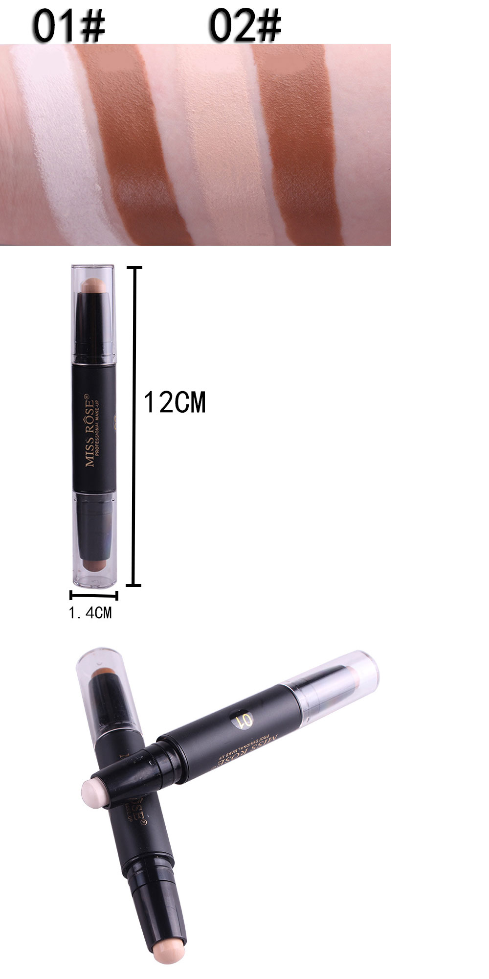 MISS ROSE Professional Facial Makeup Double Tip Concealer Pen