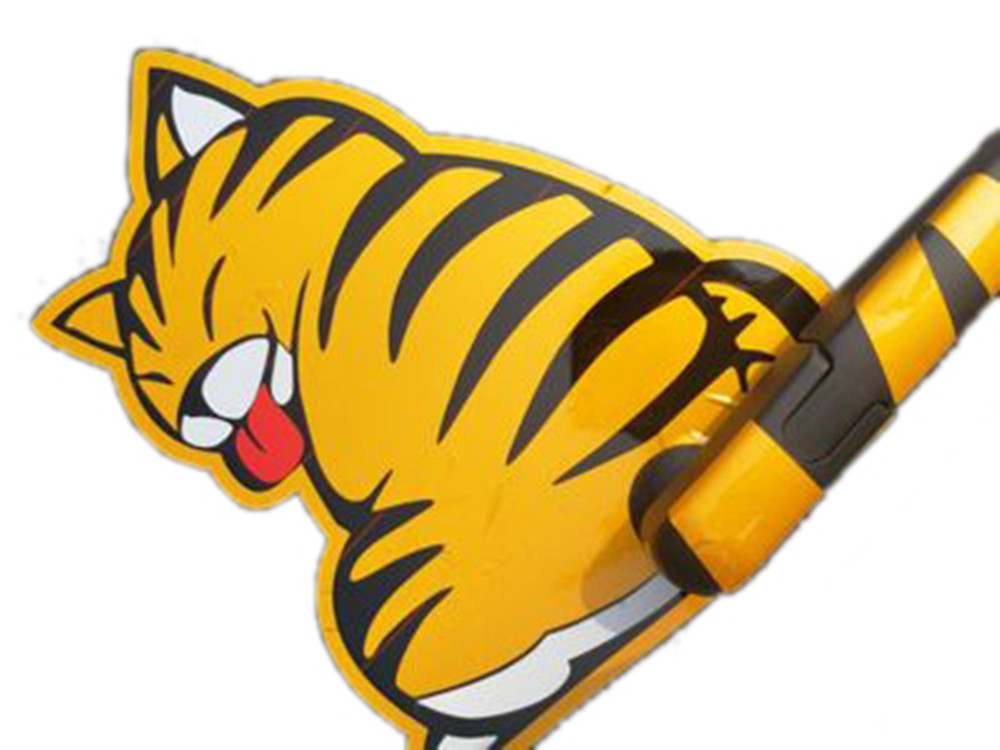 Car Rear Window Sticker Cat Shape Swing Tail Reflective Auto Decal with Tool