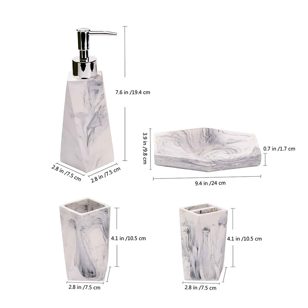 Marble Style Resin Diamond Ceramics Bath and Shower Accessories  Ensemble S 4pcs