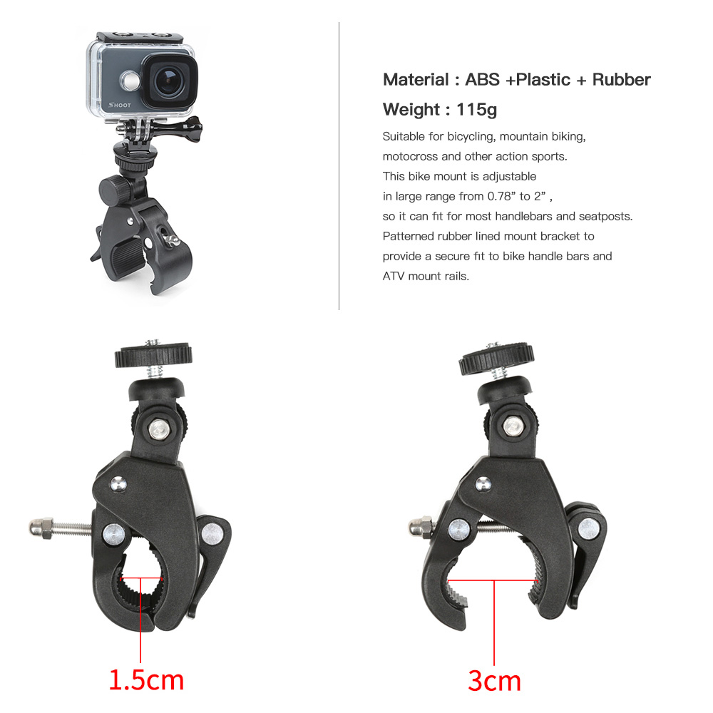 Rotatable Bicycle Handlebar Clamp Mount for GoPro Hero 6 / 5 / 4 / 3 / SJCAM