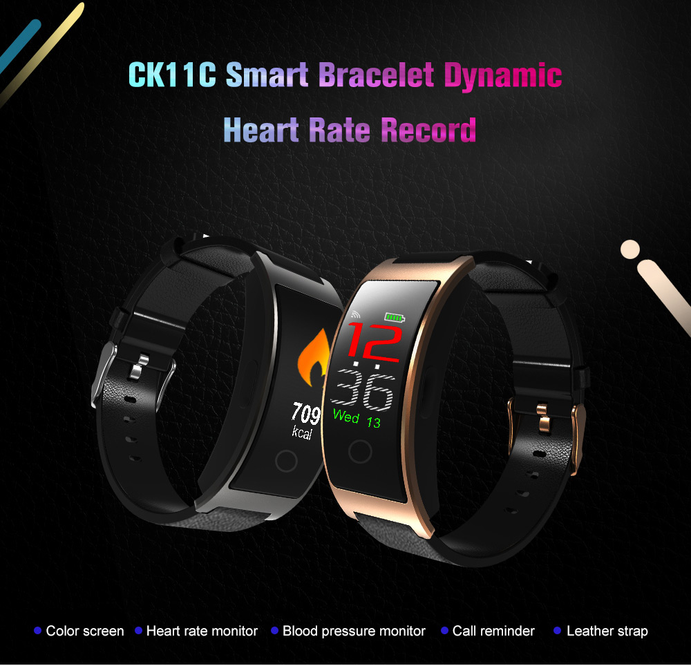CK11C Smart Bracelet Heart Rate / Blood Oxygen / Blood Pressure / Sleep Monitor Wake-up Screen Find Phone