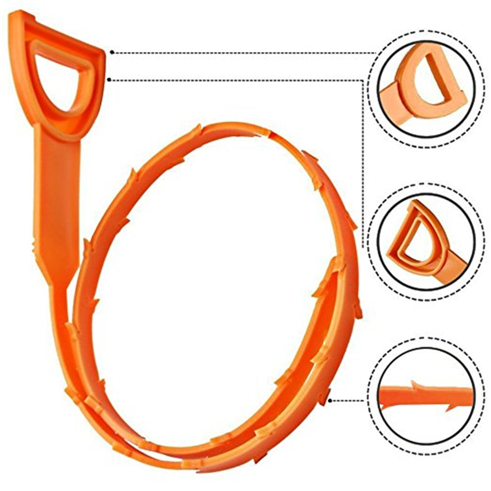 Drain Snake Hair Drain Clog Remover Drain Relief Auger Cleaning Tool- Orange