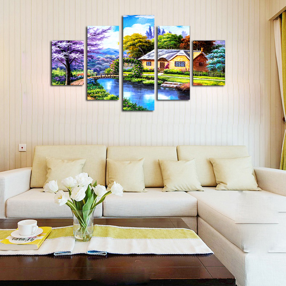 QiaoJiaHuaYuan Modern Living Room Landscape Painting Mediterranean 5PCS