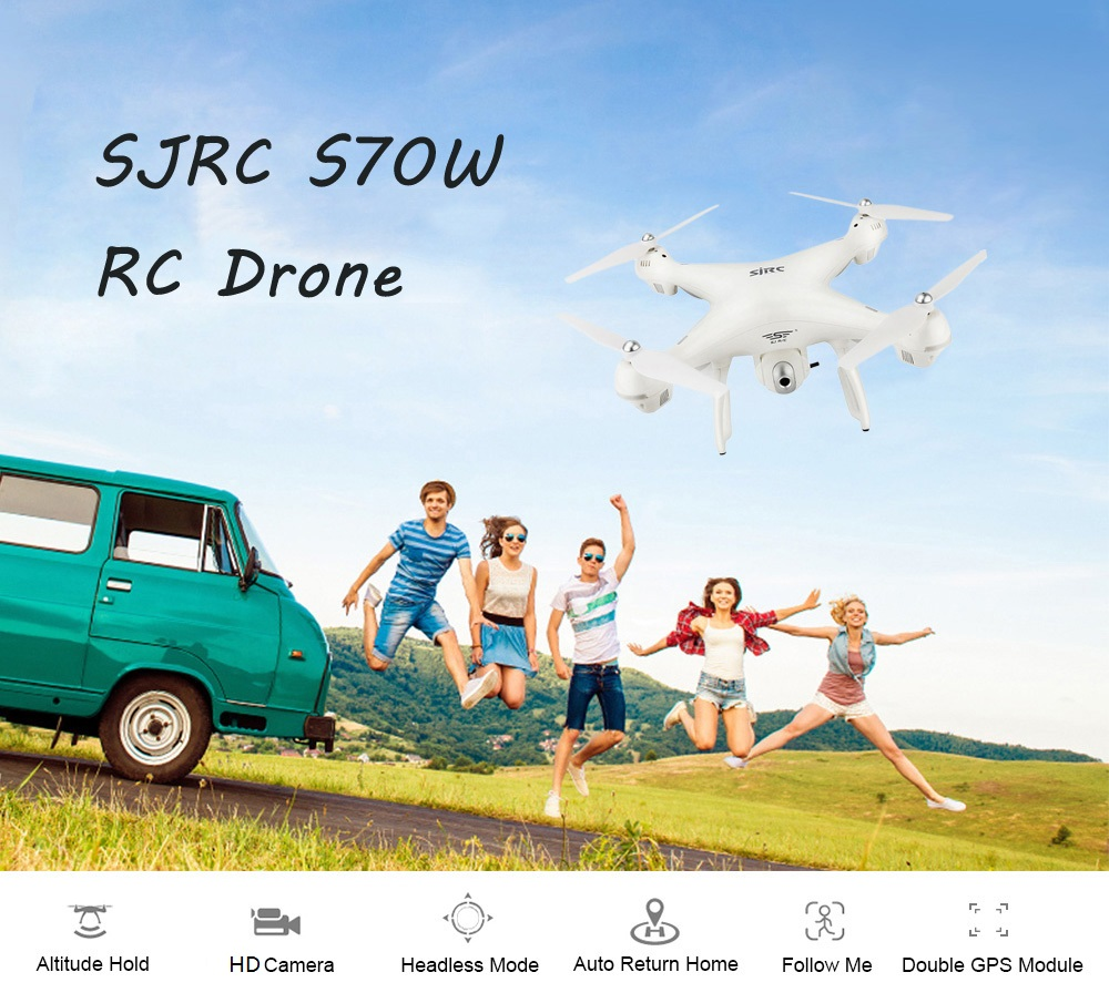 SJRC S70W RC Drone WiFi FPV / Double GPS Module / Altitude Hold / Follow Me / Headless Mode- White 1080P Camera