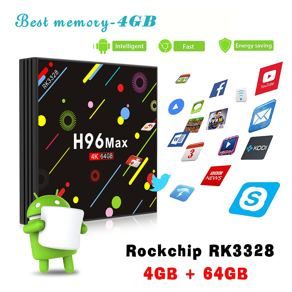 H96 MAX - H2 TV Box RK3328 Android 7.1 4GB RAM + 64GB ROM HDR10 USB 3.0 2.4G + 5G WiFi BT4.0