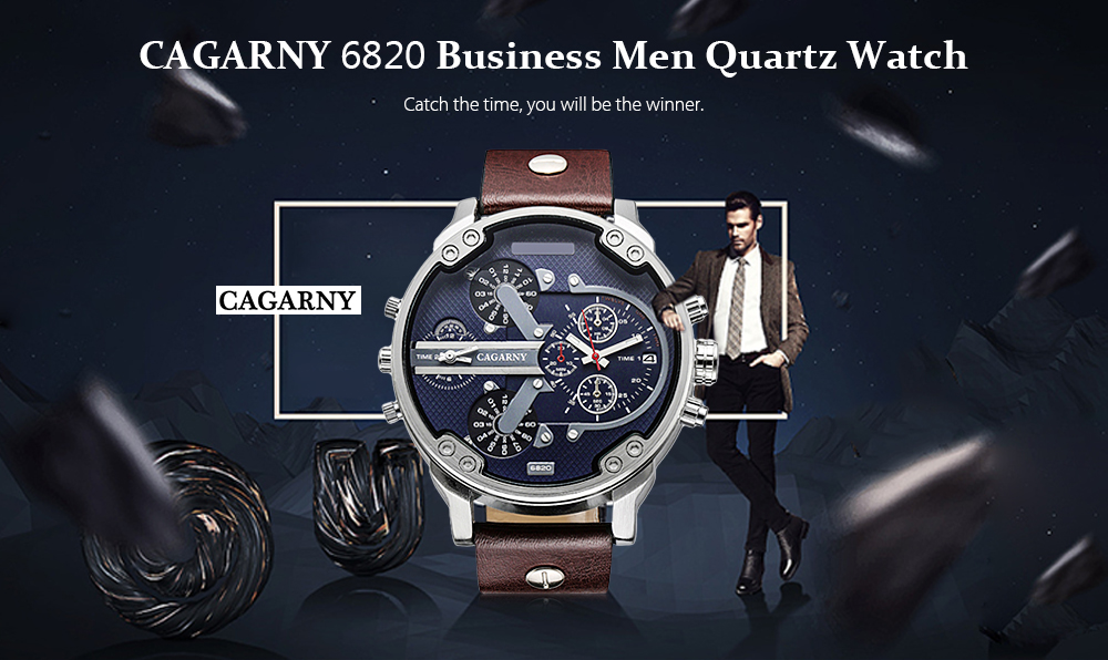 fde037989d96 CAGARNY 6820 Date Function Male Quartz Watch Dual Movements Wristwatch with  Decorative Sub-dials Leather